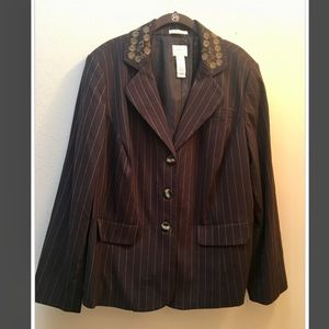 Emma James brown blazer with embroidered collar!!
